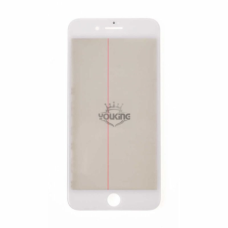 For Apple iPhone 8 Plus Glass Lens with Front Bezel OCA Glue Sheet and Polarizer Film - White